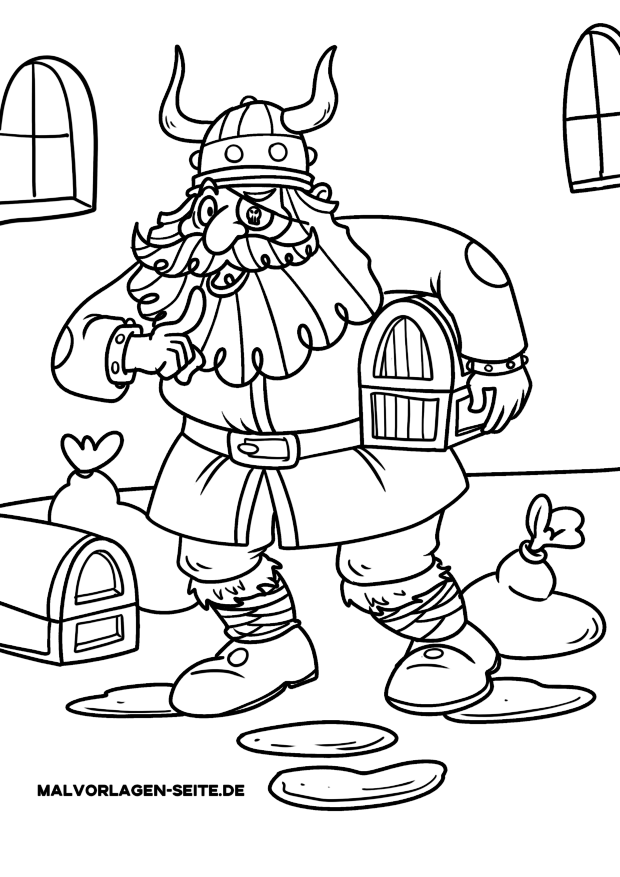 Coloring page Vikings with sweetheart