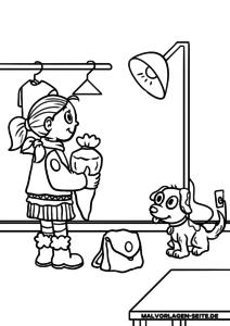 Väritys sivu ensimmäisenä koulupäivänä - tyttö koulupussilla värittämiseksi