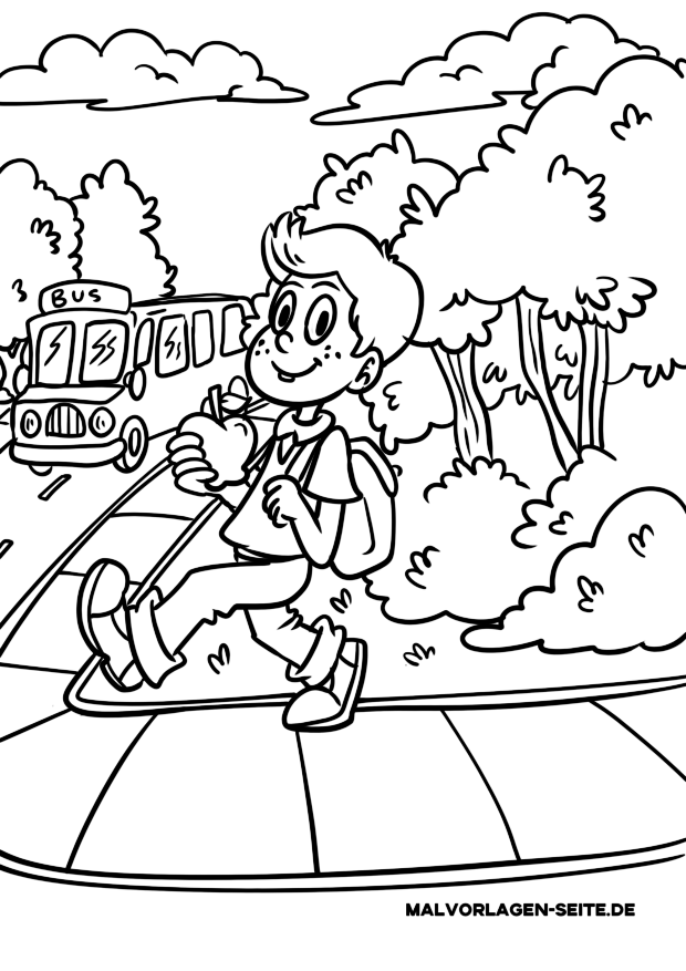 Coloring page school - go by bus