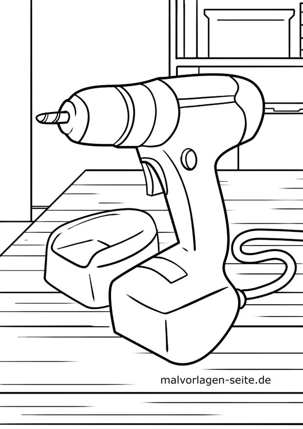 Malvorlage Bohrmaschine | Werkzeuge