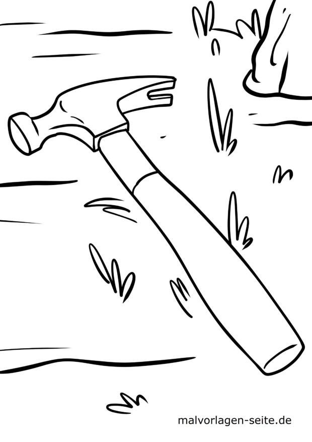 Malvorlage Werkzeug - Hammer / Klauenhammer