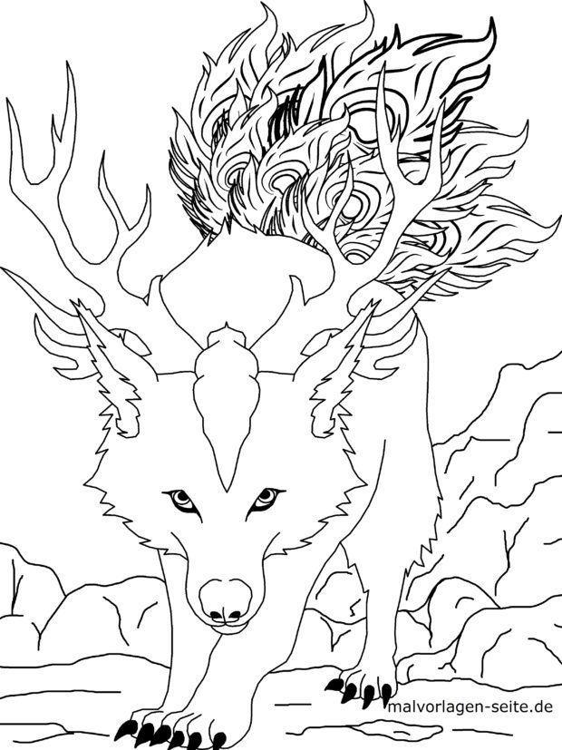 Malvorlage Manga - Wolf