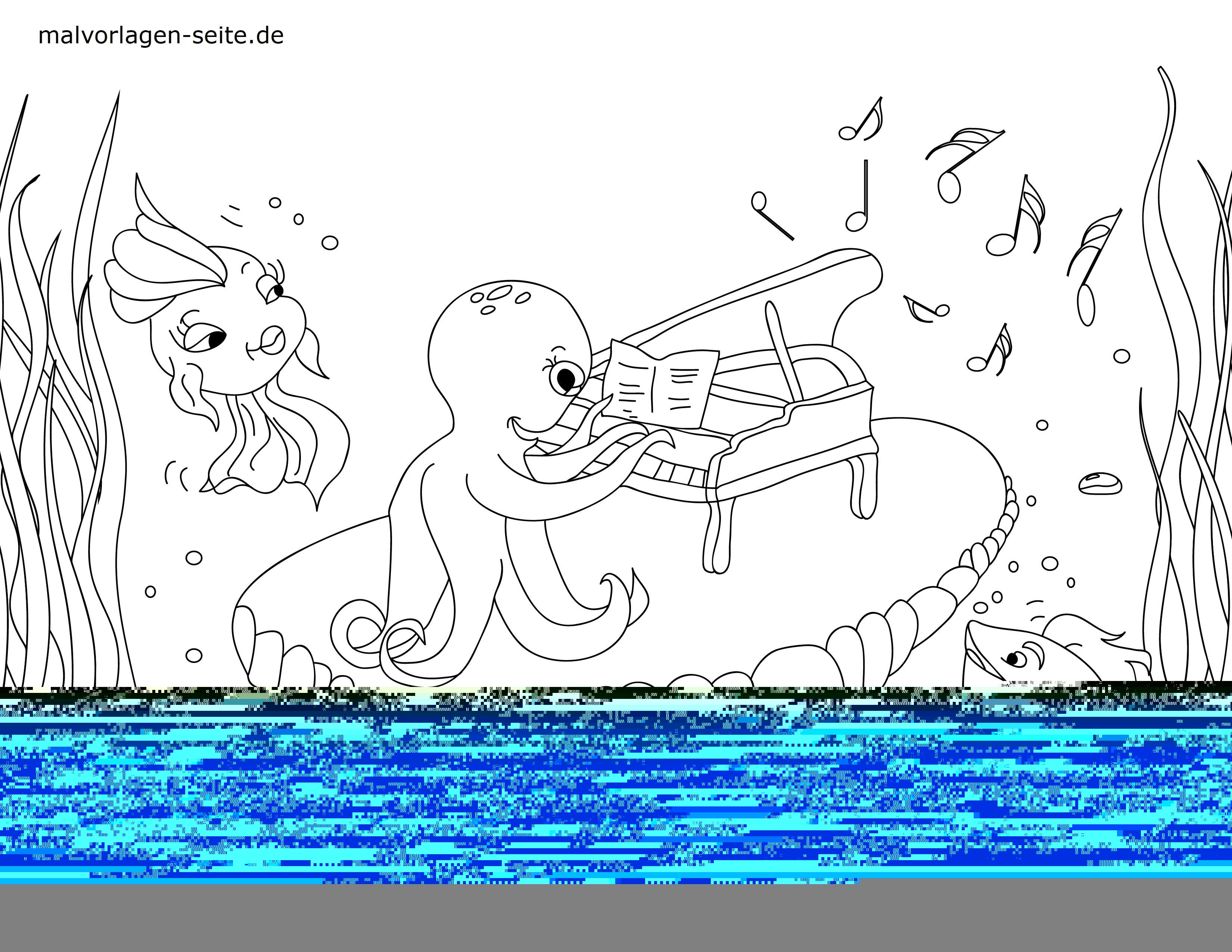 Malvorlage Unter Wasser  Tiere - Kostenlose Ausmalbilder