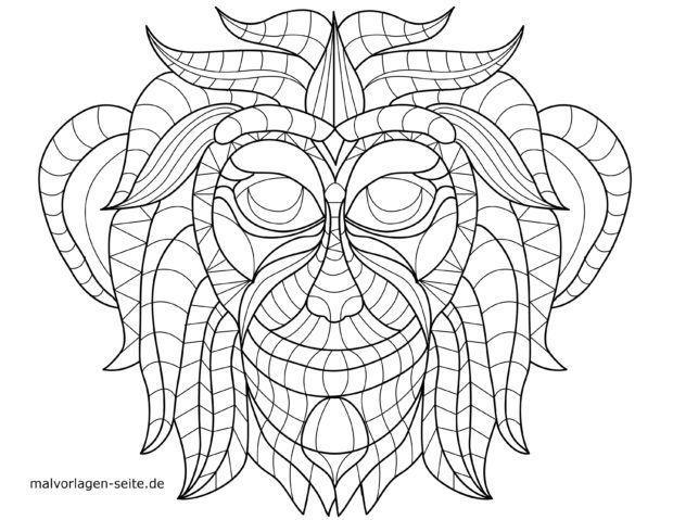 Mosaic Coloring page Monkey