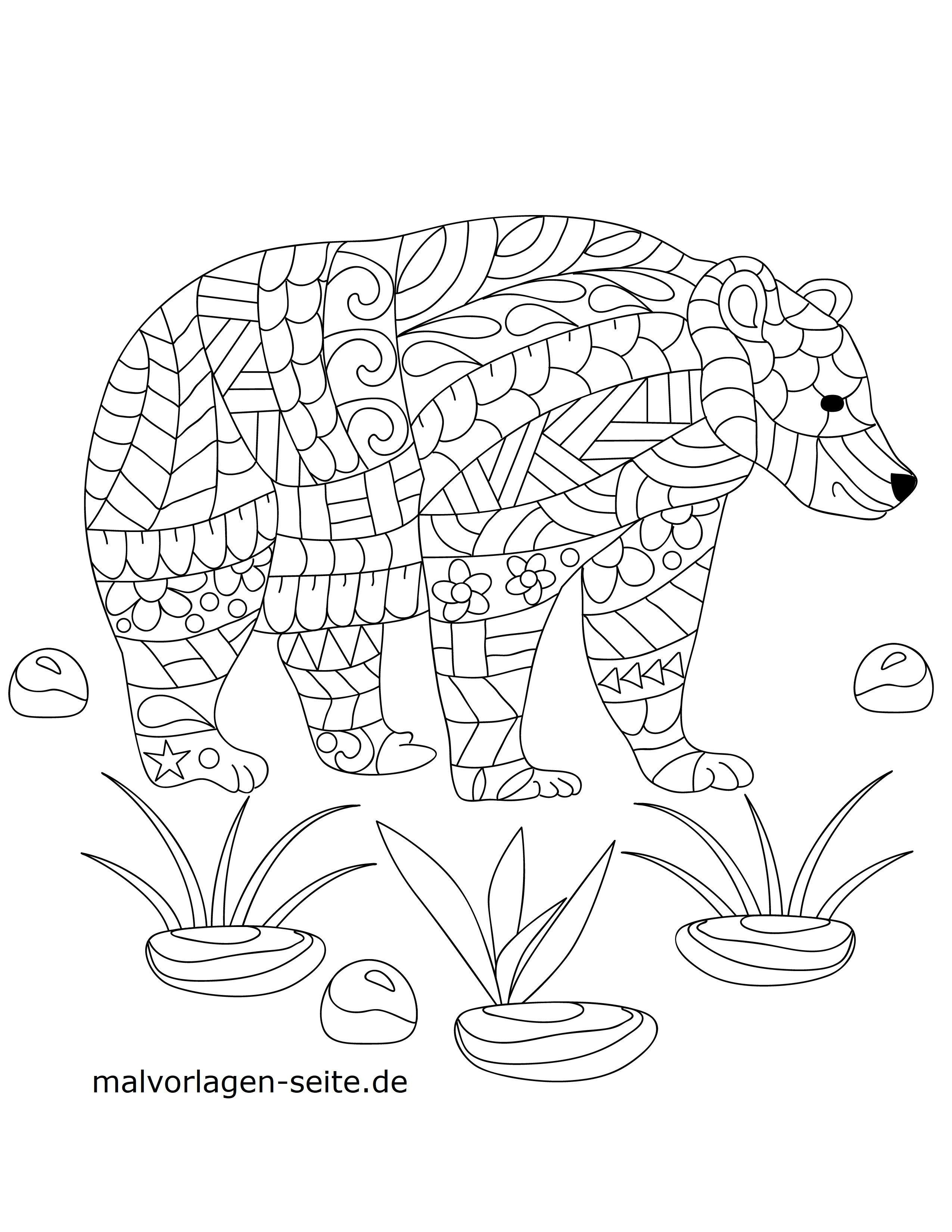 Malvorlage Mosaik Bär Tiere Mandalas