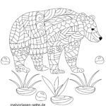 Coloring page Animal Mandala Bear | Mandala