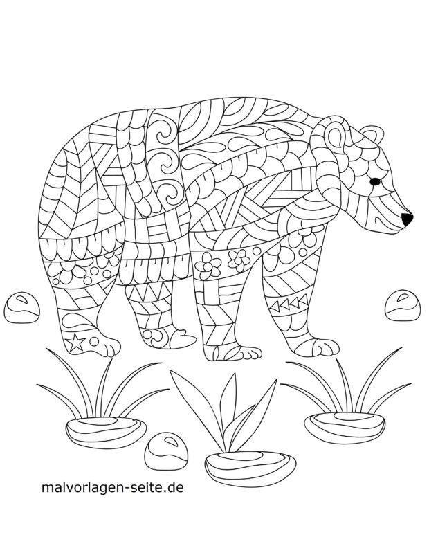 Mosaic Coloring page Bear