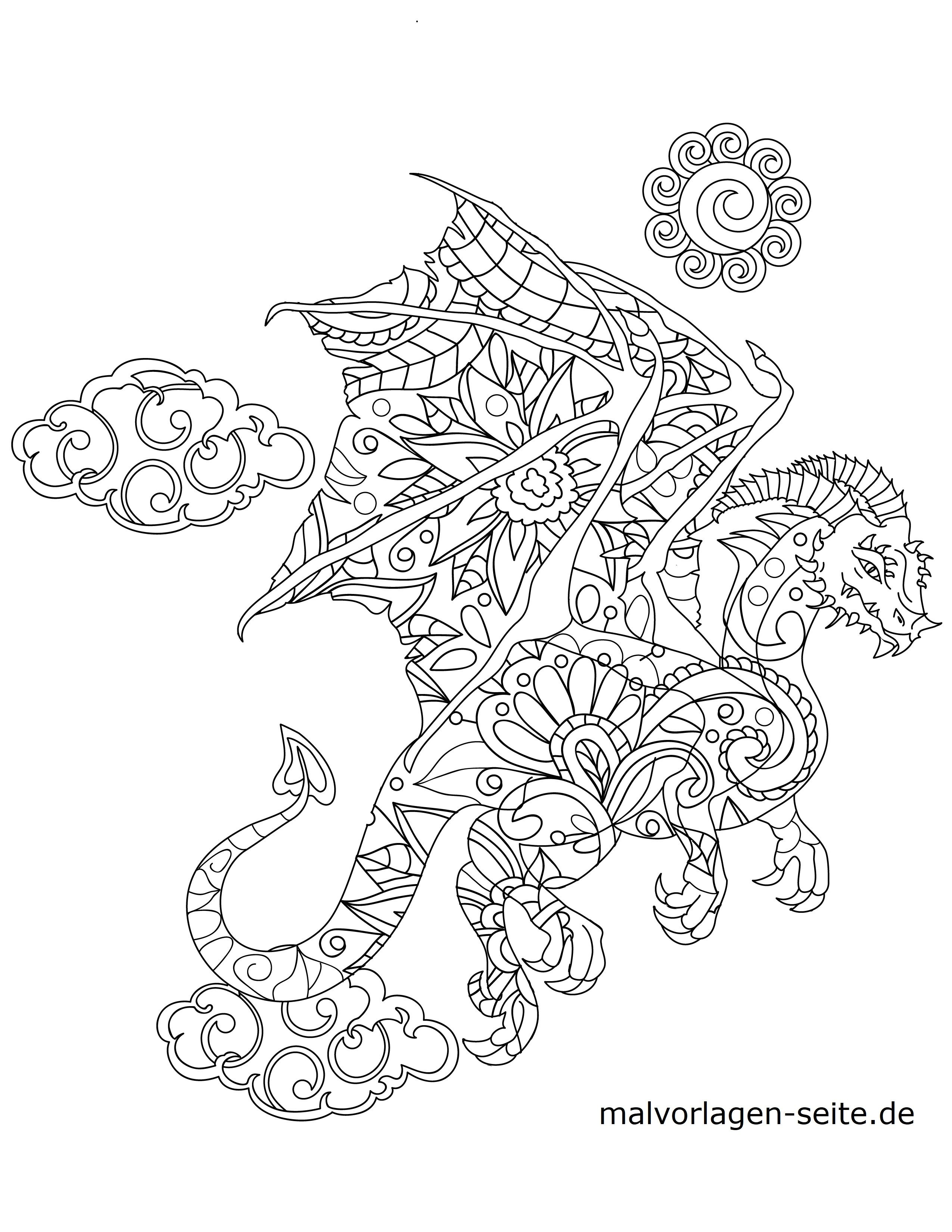 Malvorlage Tiermandala Drache Tiere Mandala