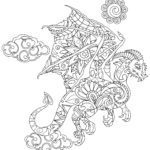 Coloring page animal mandala dragon Animals Mandala