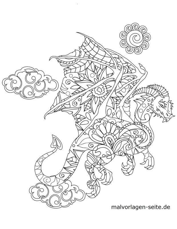 Mosaik Malvorlage Drache