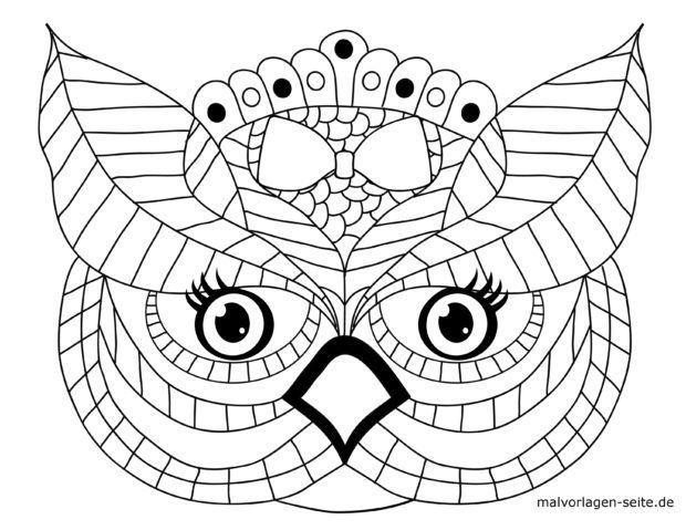 Mozaik Barvanje stran glave sova