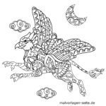 Väritys sivu eläimen mandala hyppogryph | Eläinten mandalat