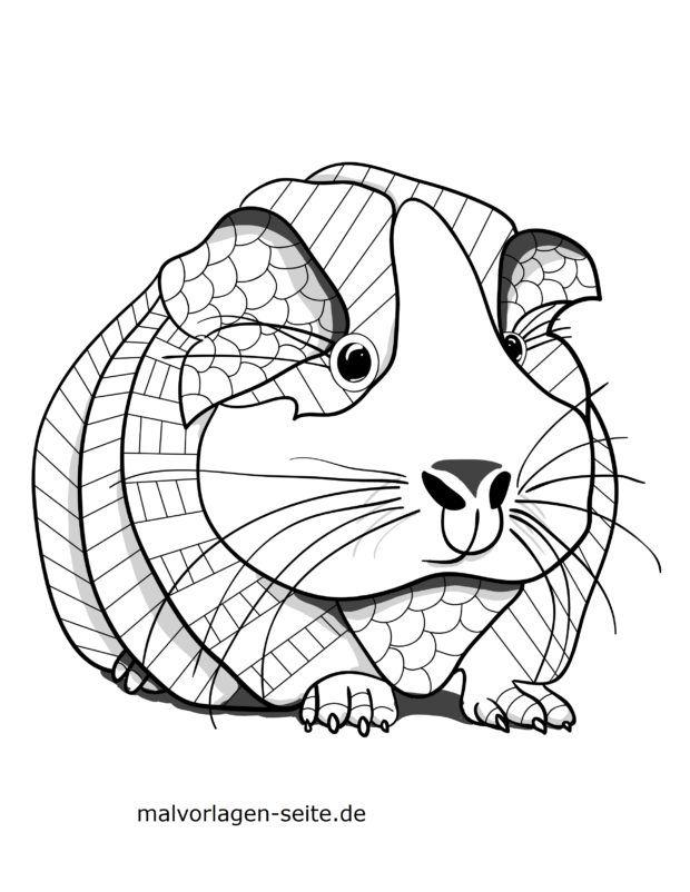 Mosaic Coloring page guinea pig