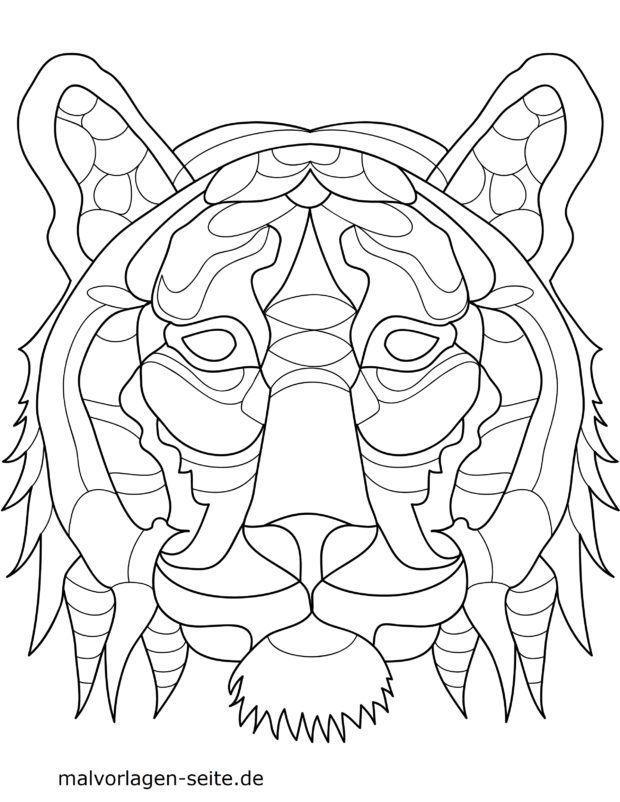 Mosaiikki väritys sivu Tiger