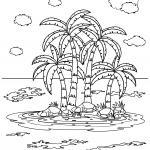 Palm trees and island for coloring