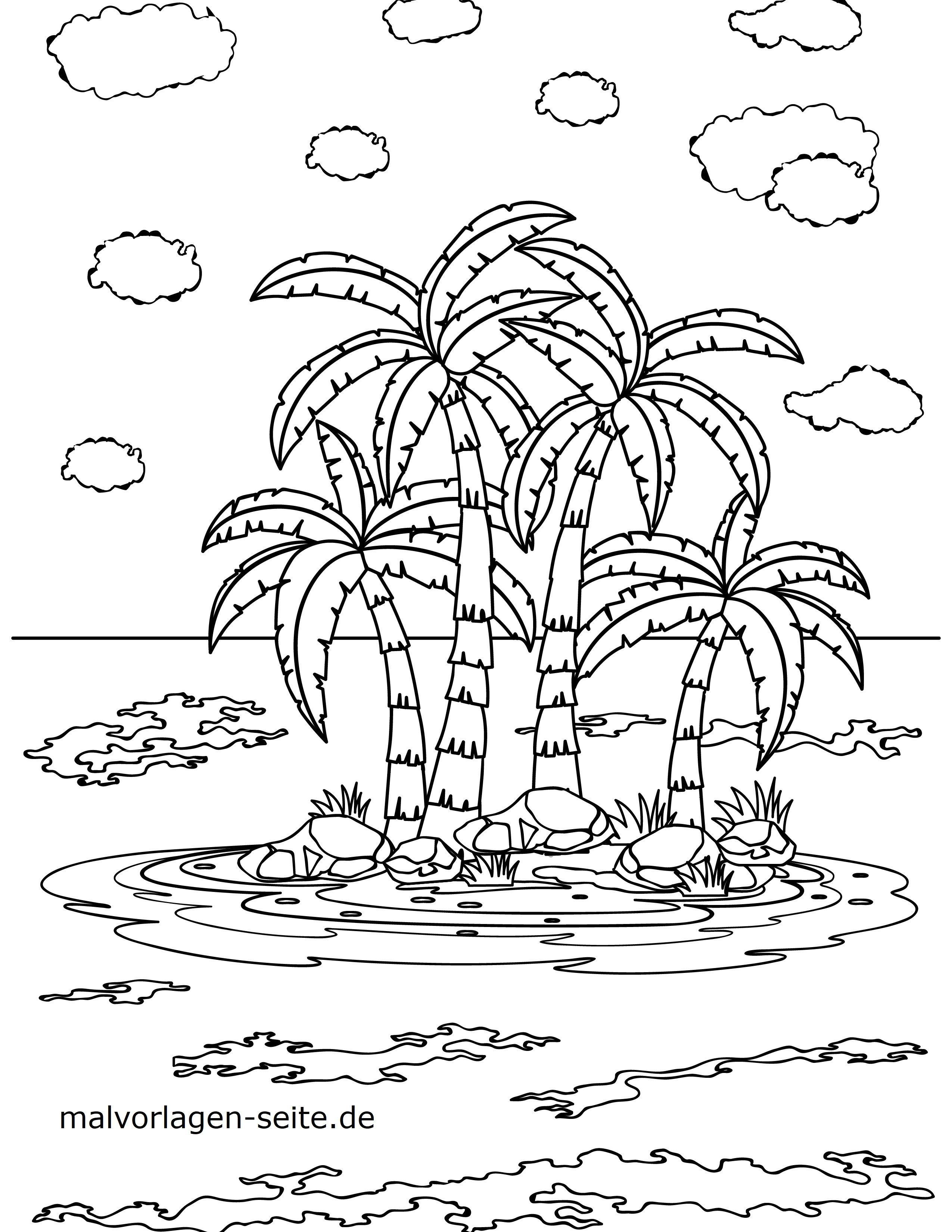 Malvorlage Palmen Insel  Urlaub - Kostenlose Ausmalbilder