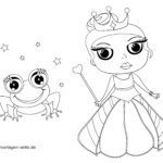 Coloring page little children - princess & enchanted frog