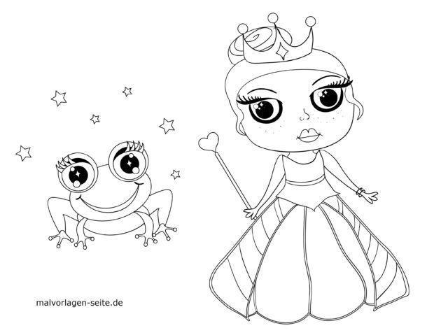 Malvorlage für kleine Kinder - Prinzessin und verzauberter Frosch