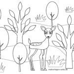 Coloring page for small children - deer