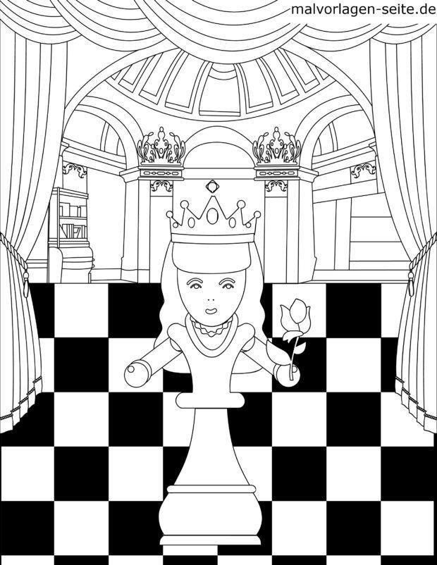 Malvorlage Schachfigur Dame