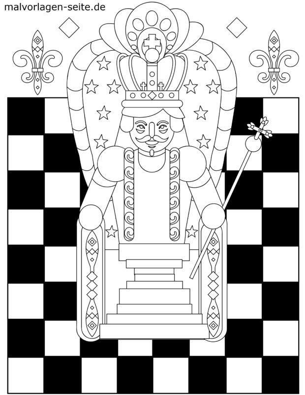 Coloring page chess piece king