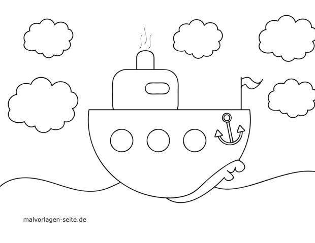 Malvorlage für kleine Kinder - Schiff