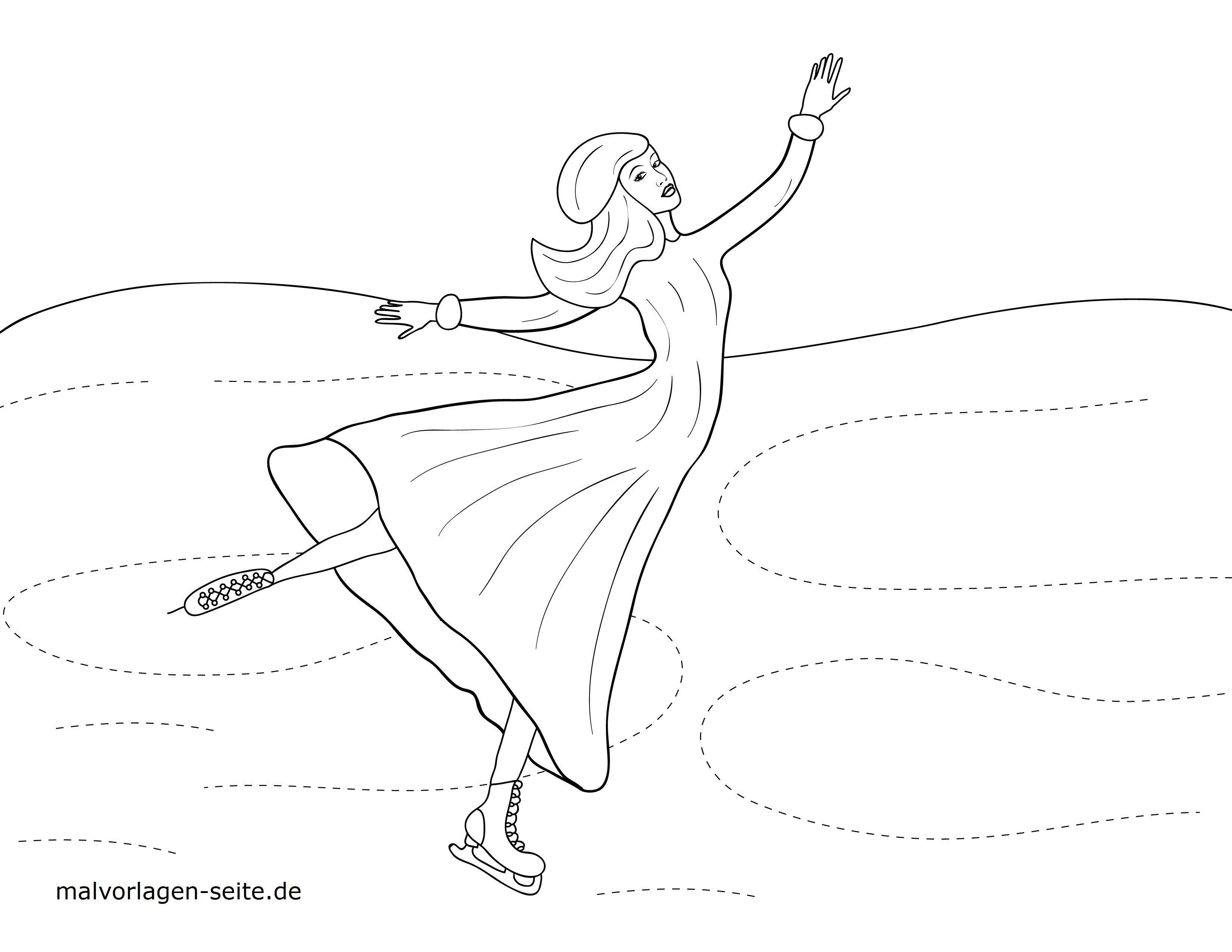 Malvorlage kleine Kinder - Schlittschuhlaufen - Kostenlose
