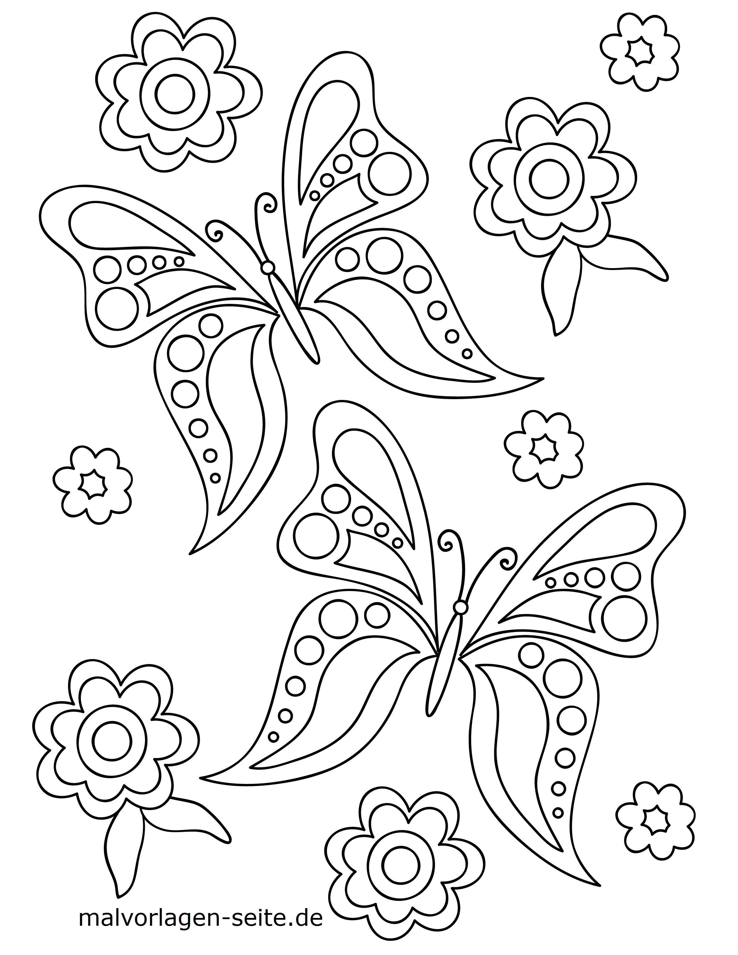 Malvorlage Schmetterling Und Blumen Kostenlose Ausmalbilder