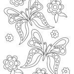 Coloring page butterfly and flowers