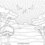 Bojanje stranice izlazak sunca | krajolik
