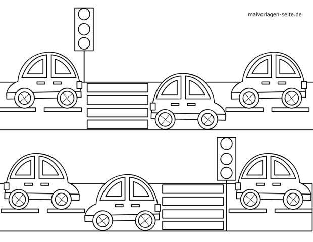 Coloring page for little kids - road traffic