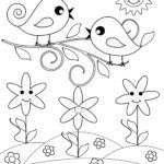 Coloring page little kids - birds