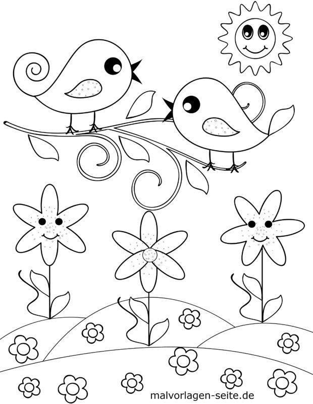 Värityskuva pienille lapsille - linnut niityllä