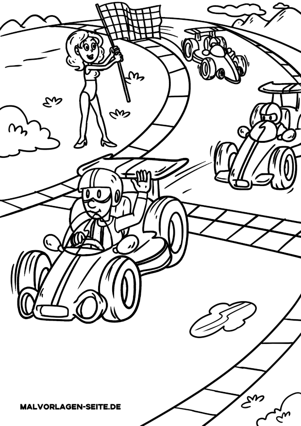 Coloring page car racing