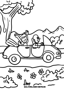 Coloring page car excursion for children