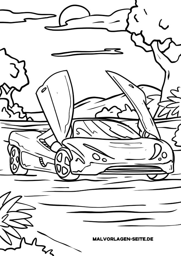 Dibujos para colorear coche con puertas dobles.