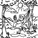 Coloring page hammock - holiday