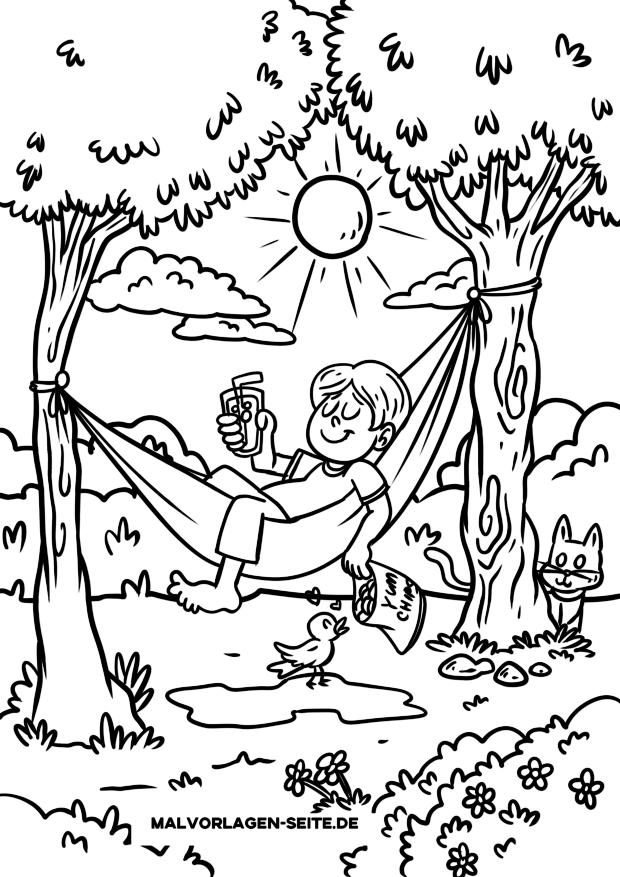 Coloriage enfant dans un hamac
