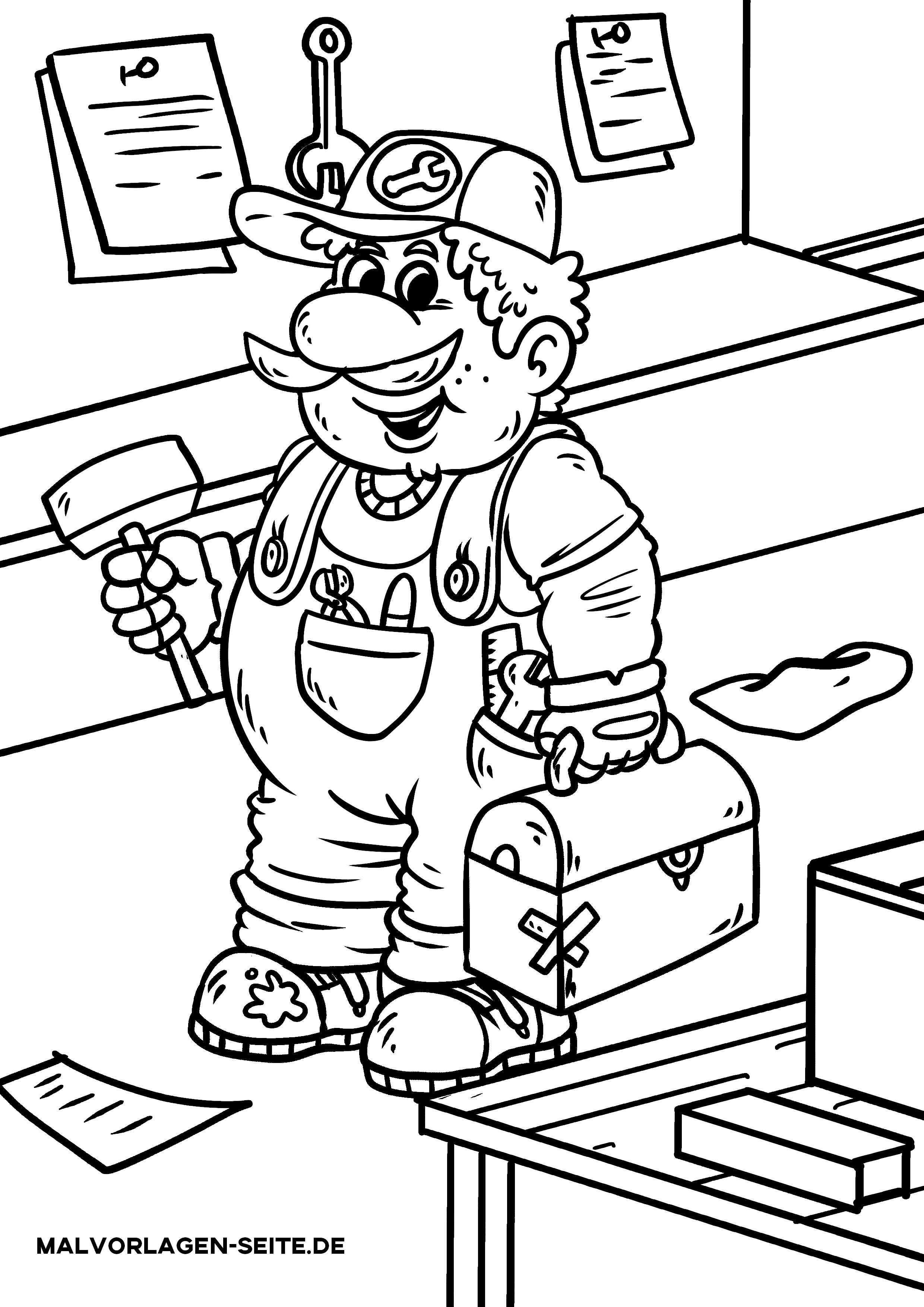 Malvorlage Handwerker Werkzeug  Personen - Kostenlose Ausmalbilder