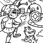 Aliens UFOs space coloring book