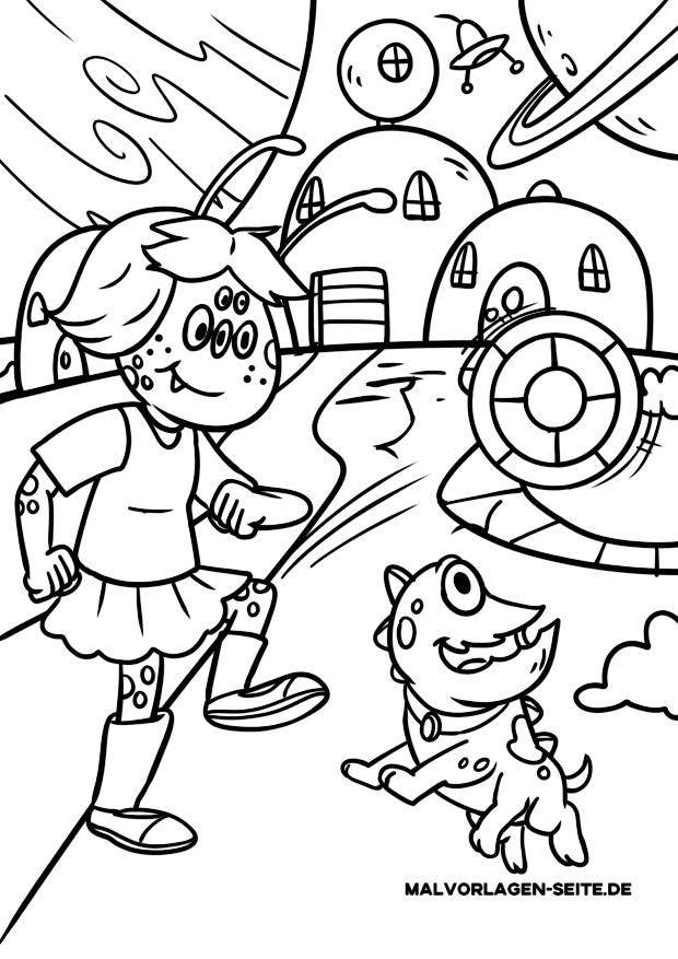 Coloriage extraterrestre / extraterrestre