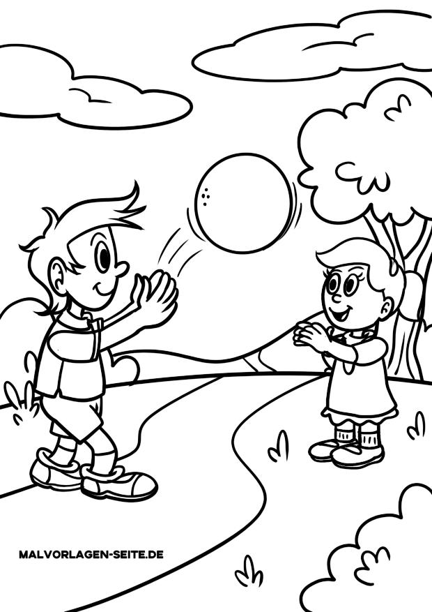 malvorlagen kinder spielen ball fangen  kostenlose