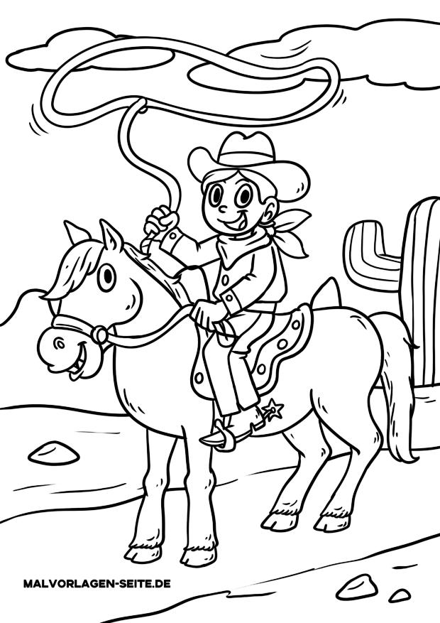 malvorlage cowboy  kostenlose ausmalbilder