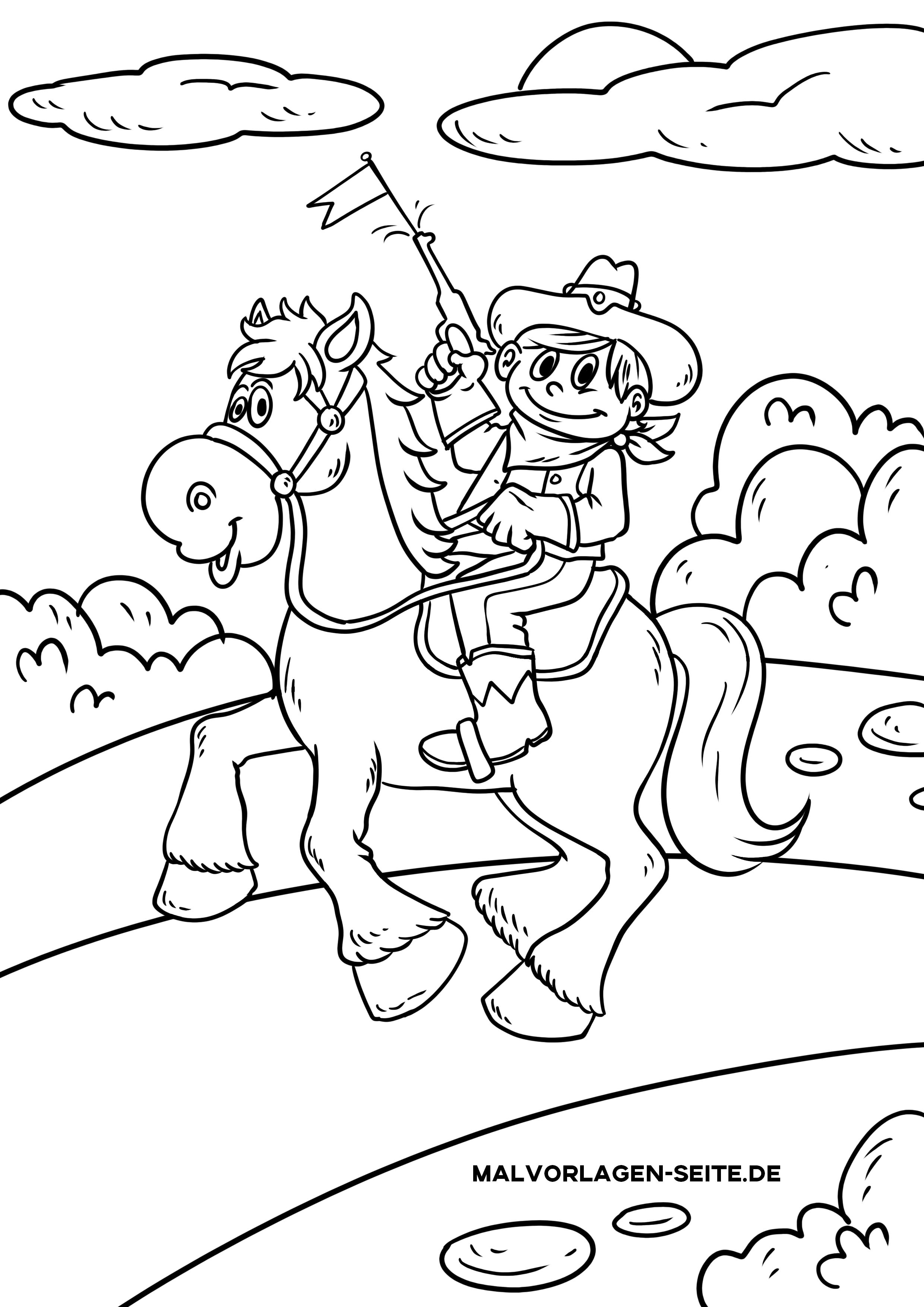 ausmalbild cowboy  kostenlose ausmalbilder