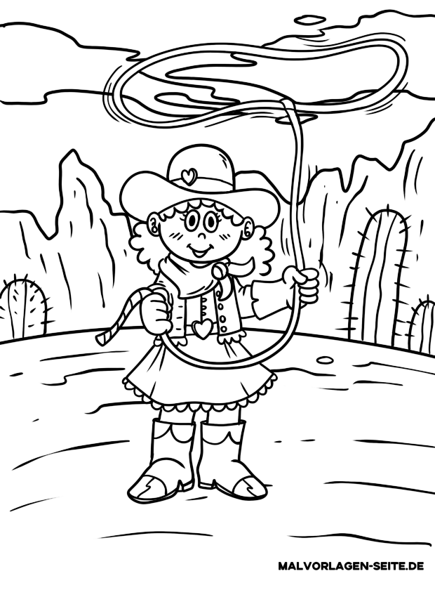 Coloring page cowgirl with lasso