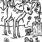 Animals in the forest coloring page