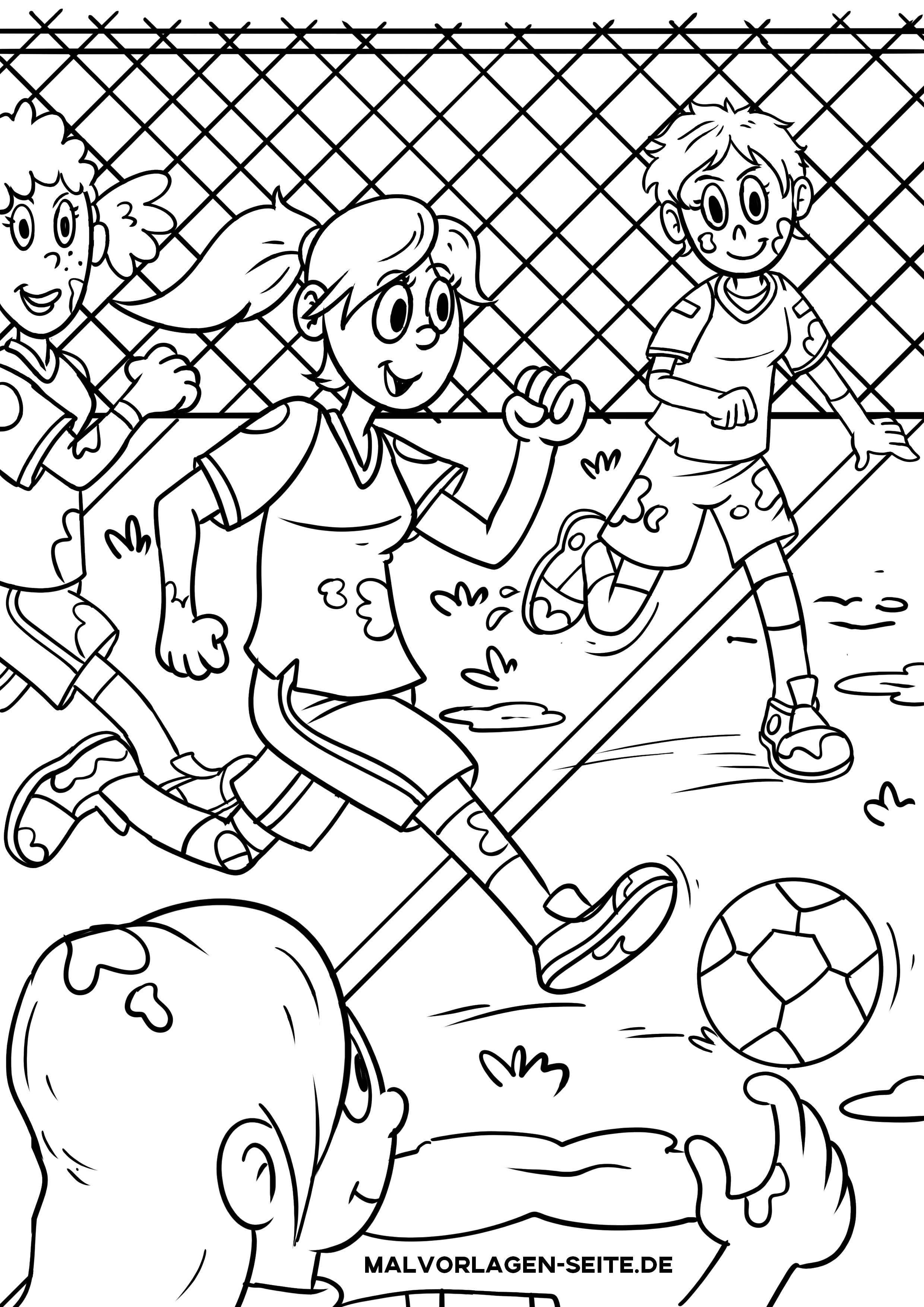 Malvorlage Frauenfußball Frauen Spielen Fußball Zum Ausmalen
