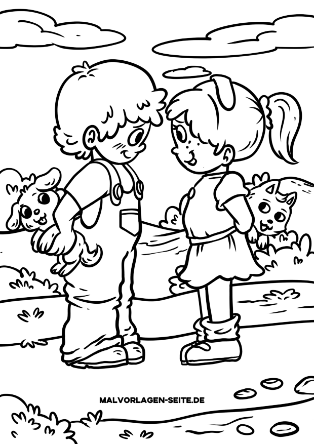 Coloring page children - boy and girl