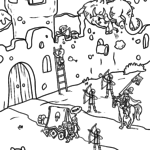 Coloring page knight castle - find the mistakes :-)
