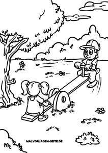 Coloring page children playing for coloring